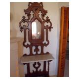 Antique Hall Tree w/Marble Shelf